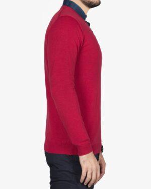 پلیور بافت مردانه ساده یقه هفت قرمز - قرمز - بغل