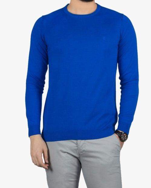 پلیور بافت مردانه ساده یقه گرد آبی - آبی کاربنی - رو به رو