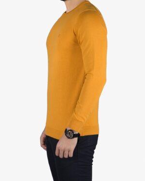 پلیور بافت مردانه ساده یقه گرد زرد - خردلی - بغل