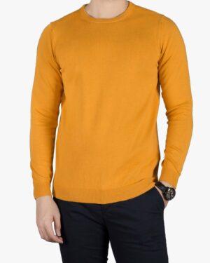 پلیور بافت مردانه ساده یقه گرد زرد - خردلی - رو به رو