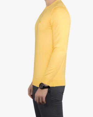پلیور بافت مردانه ساده یقه گرد زرد - لیمویی - بغل