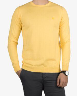 پلیور بافت مردانه ساده یقه گرد زرد - لیمویی - رو به رو