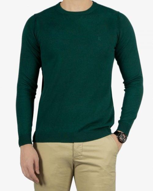 پلیور بافت مردانه ساده یقه گرد سبز - یشمی پررنگ - رو به رو