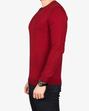 پلیور بافت مردانه ساده یقه گرد قرمز - شرابی - بغل