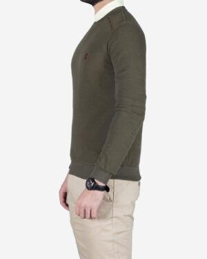 پلیور نخی مردانه یقه گرد طرح ساده - سبز ارتشی - بغل