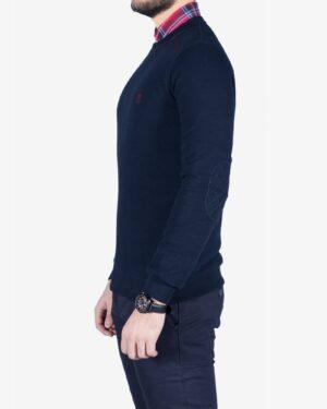 پلیور نخی مردانه یقه گرد طرح ساده - سرمه ای تیره - بغل
