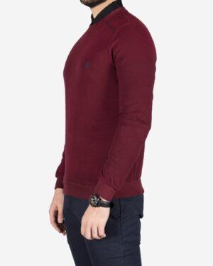 پلیور بافت مردانه یقه گرد طرح ساده - عنابی - بغل
