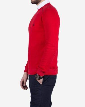 پلیور نخی مردانه یقه گرد طرح ساده - قرمز - بغل