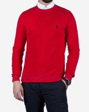 پلیور بافت مردانه یقه گرد طرح ساده - قرمز - رو به رو