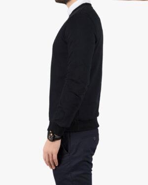 پلیور بافت مردانه یقه گرد طرح ساده - مشکی - بغل