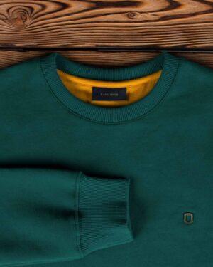 پلیور پنبه ای مردانه سبز آبی - سبزآبی تیره - یقه آستین
