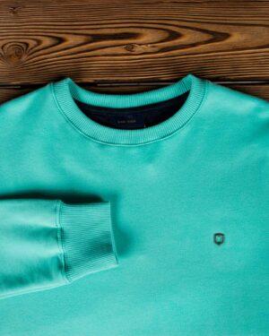 پلیور پنبه ای مردانه سبز آبی - سبزآبی روشن - یقه آستین