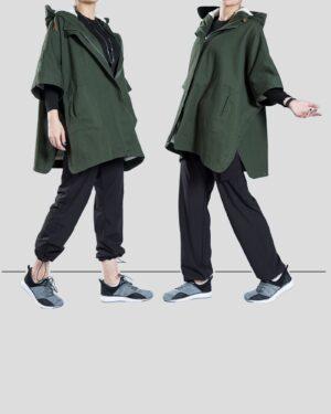 کاپشن دخترانه کلاه دار کتان - سبز تیره - محیطی