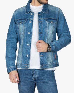 کت جین مردانه آستین بلند آبی تیره - آبی تیره - جلو