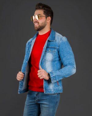 کت جین مردانه آستین بلند آبی تیره - آبی تیره - محیطی