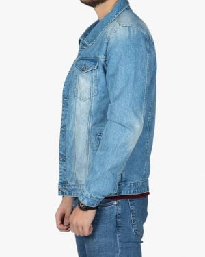 کت جین مردانه آستین بلند اسپرت - آبی - بغل