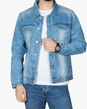 کت جین مردانه آستین بلند اسپرت - آبی - رو به رو باز