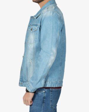 کت جین مردانه اسپرت زاپ دار - آبی روشن - بغل