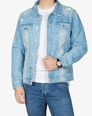 کت جین مردانه اسپرت زاپ دار - آبی روشن - جلو