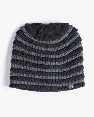 کلاه بافت طرح راه راه - خاکستری تیره - بالا