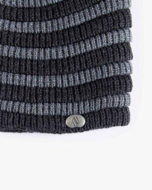 کلاه بافت طرح راه راه - خاکستری تیره - کلاه بافتنی