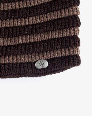 کلاه بافت طرح راه راه - قهوه ای تیره - کلاه بافتنی