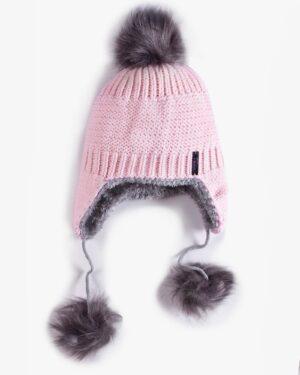 کلاه بافت گوش دار منگوله دار - صورتی - رو به رو