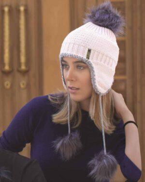 کلاه بافت گوش دار منگوله دار - صورتی- محیطی زنانه