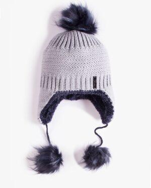 کلاه بافت گوش دار منگوله دار - طوسی کمرنگ - رو به رو