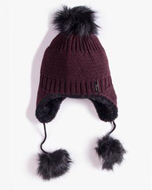 کلاه بافت گوش دار منگوله دار - عنابی - رو به رو