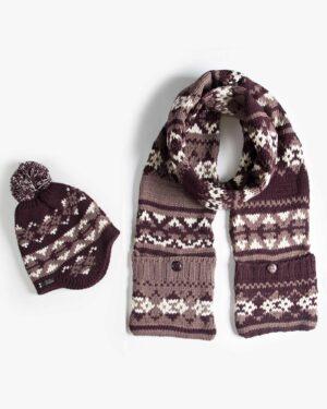 کلاه شال گردن جیب دار طرح دار - قهوه ای تیره - محصول