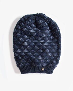کلاه شیطونی بافت طرح مثلث خزدار - سرمه ای تیره - رو به رو