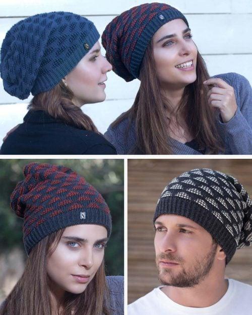 کلاه شیطونی بافت طرح مثلث خزدار - محیطی - مردانه زنانه