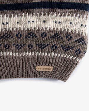 کلاه و شال گردن و دستکش بدون انگشت بافت - خاکی - برند تارتن