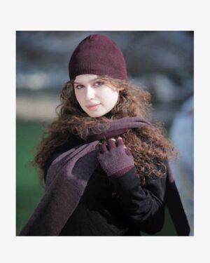 کلاه و شال گردن و دستکش بدون انگشت بافت - عنابی -محیطی زنانه