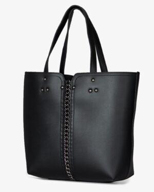کیف دوشی زنانه مشکی زنجیری - مشکی - رو به رو