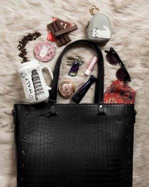 کیف دوشی زنانه چرم مصنوعی مشکی - مشکی - محیطی حجم