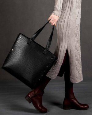 کیف دوشی زنانه چرم مصنوعی مشکی - مشکی - محیطی