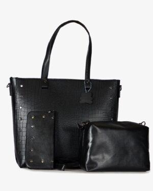 کیف دوشی زنانه چرم مصنوعی مشکی - مشکی - کیف دوشی کیف پول کیف دستی