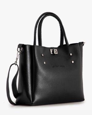 کیف دوشی مشکی زنانه ساده - مشکی - رو به رو