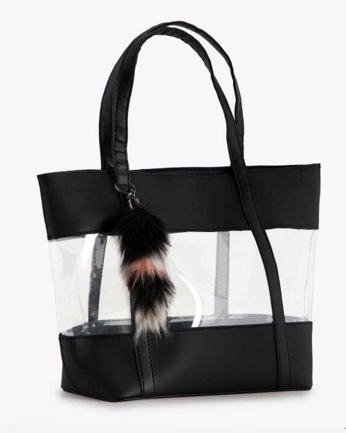 کیف طلقی زنانه دوشی - مشکی - رو به رو