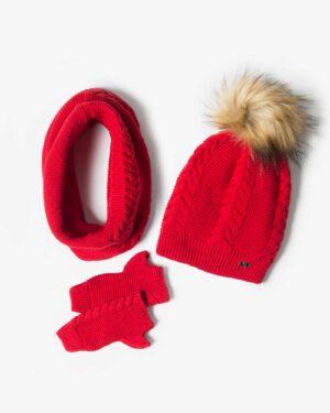ست کلاه و شال گردن و دستکش بافتنی ساده - قرمز - رو به رو