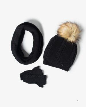 ست کلاه و شال گردن و دستکش بافتنی ساده - مشکی - رو به رو