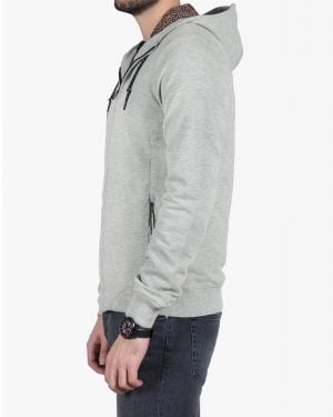 سویشرت زیپ دار مردانه طوسی - طوسی کمرنگ - بغل