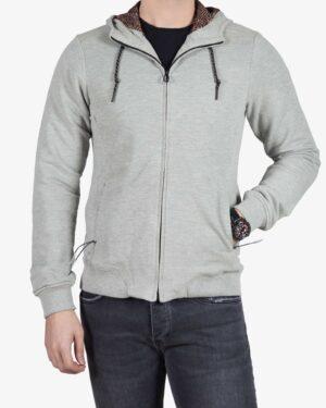 سویشرت زیپ دار مردانه طوسی - طوسی کمرنگ - رو به رو