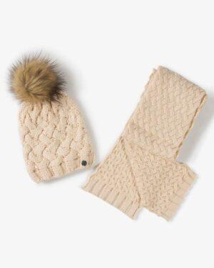 شال گردن و کلاه بافت طرح حصیری - کرمی - شال گردن و کلاه
