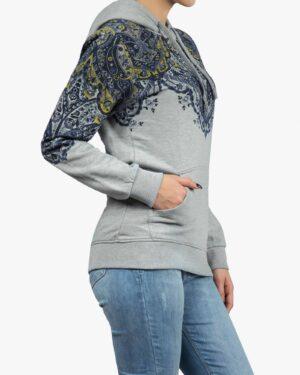 هودی دخترانه طرح سنتی جیب دار - طوسی کمرنگ - بغل