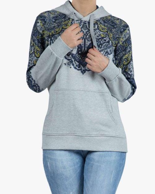 هودی دخترانه طرح سنتی جیب دار - طوسی کمرنگ - رو به رو