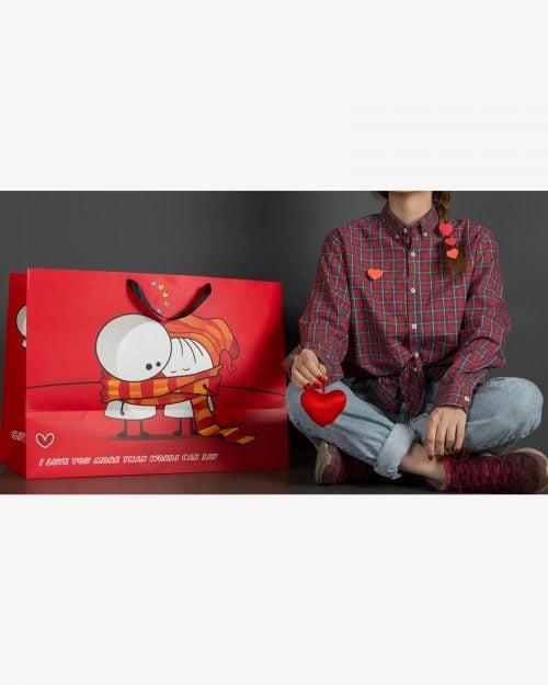 پاکت کادو بزرگ ولنتاین - قرمز - پاکت کادو
