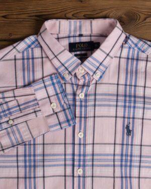 پیراهن مردانه آستین بلند چهارخونه - صورتی - یقه مردانه